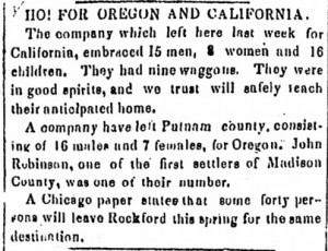 Notice of the Donner Party's departure, published in the April 23, 1846, Sangamo Journal