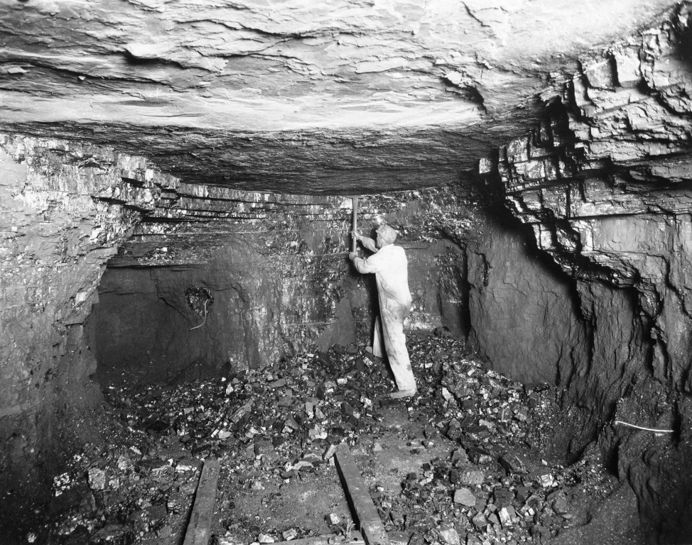 Sangamon County miner at the coal face, undated (Sangamon Valley Collection)