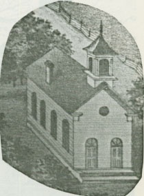 Second Antioch Christian Church building (from 1874 county atlas)