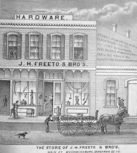 Above and top, two views of Mechanicsburg businesses in the late 1800s (from 175 Years of Memories)