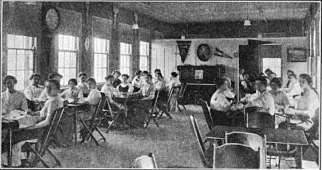 Women's lunch room at the Illinois Watch Factory, 1914 (Springfield Survey photo()