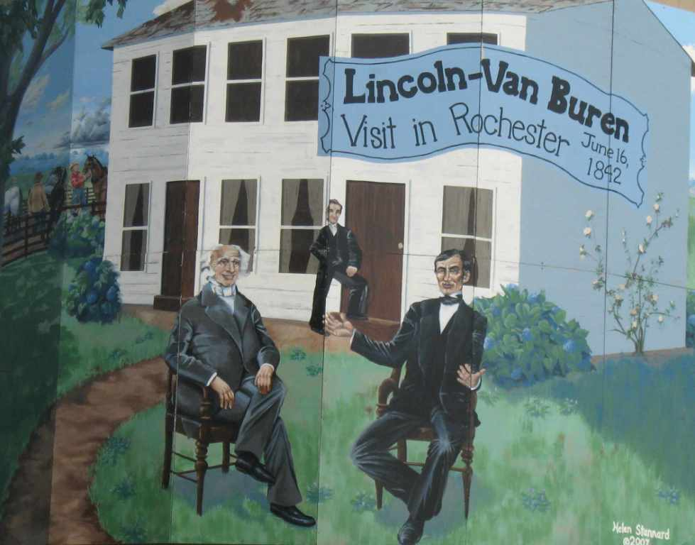Mural on Illinois 29 grain silo commemorates the Lincoln-Van Buren meeting (SCHS photo)