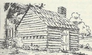 What Springfield's first school house might have looked like, from The Sangamon Country by Helen Van Cleave Blankmeyer
