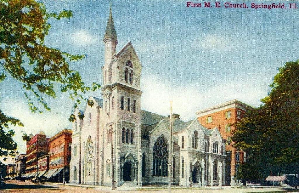 First Methodist Episcopal Church sometime prior to 1952, as shown on one-cent postcard (Donna Catlin)