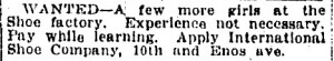 1913 help-wanted ad