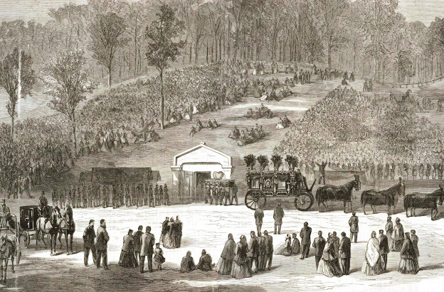 Abraham Lincoln's casked is carried into the receiving vault at Oak Ridge Cemetery, illustration by William Waud. (Credit: rogerjnorton.com)