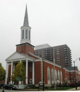 Central Methodist Church with Lincoln Towers in background (SCHS photo)