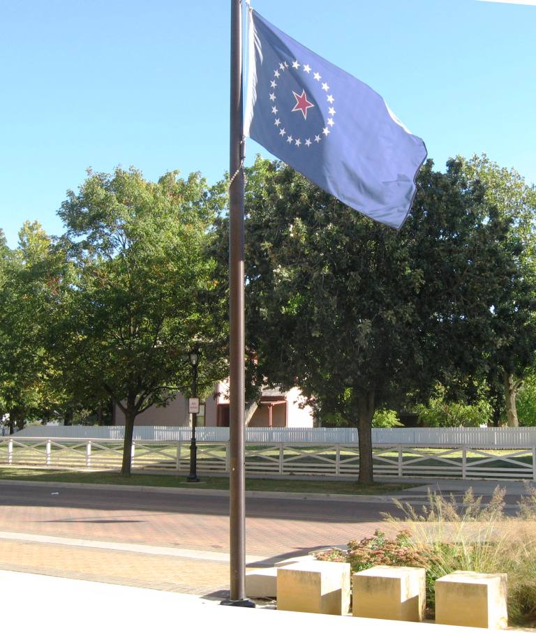 The Springfield city flag outside Lincoln Library's Capitol Avenue entrance (SCHS photo)