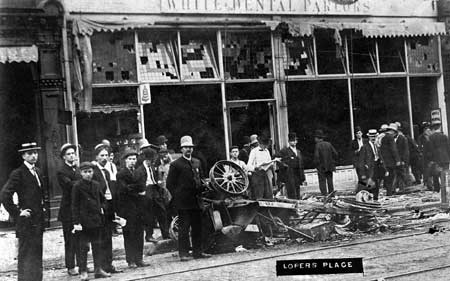 The remains of Harry Loper's car and restaurant the day after rioters attacked (ALPLM)