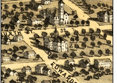 The Matteson mansion (No. 32) can be seen at the top of this drawing, just above the Executive Mansion (No. 2). (This is a portion of the 1867 Ruger map of Springfield.)