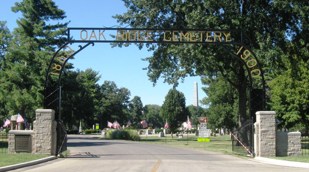 Main entrance to Oak Ridge Cemetery (Lincoln Tomb obelisk in background). (SCHS photo)