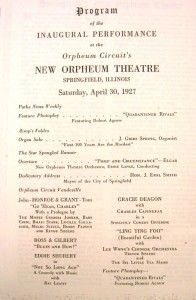 Orpheum program for opening day, April 30, 1927