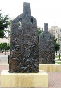 Race riot memorial sculpture in Union Square Park, by Preston Jackson (SCHS photo)