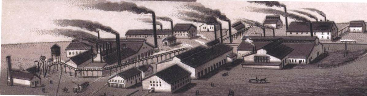 Drawing of the Rolling Mills circa 1890, from Souvenir of Springfield, published by H.E. Barker, art dealer