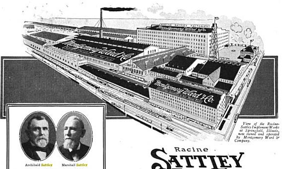 The Racine-Sattley plant, with inset photos of Archibald and Marshall Sattley, from 1917 advertisement