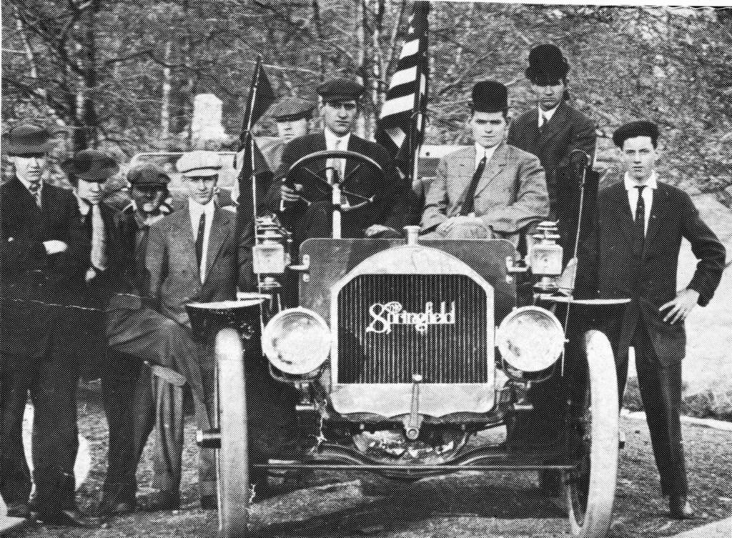 A Springfield Motor Car gets a test drive in 1910. From left are Howard and Homer Welch, Clarence W. Chiles, John Workman, John W. Hobbs behind the wheel, Harry Loper, Ernest Mayhew and Herbert Georg.