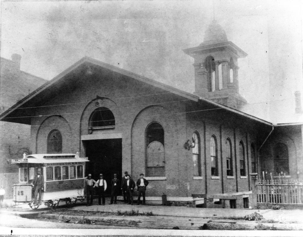 City Railway street car barn, 1897 (Sangamon Valley Collection)