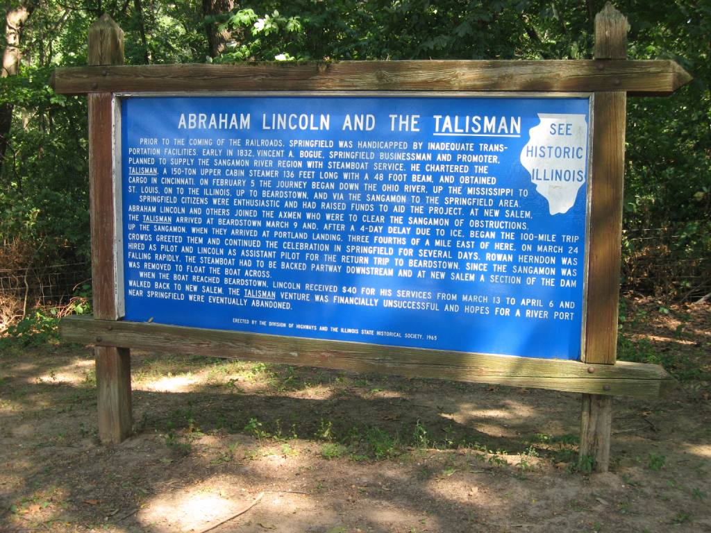 A marker at the northbound rest area on Interstate 55 east of Springfield remembers the Talisman's voyage.