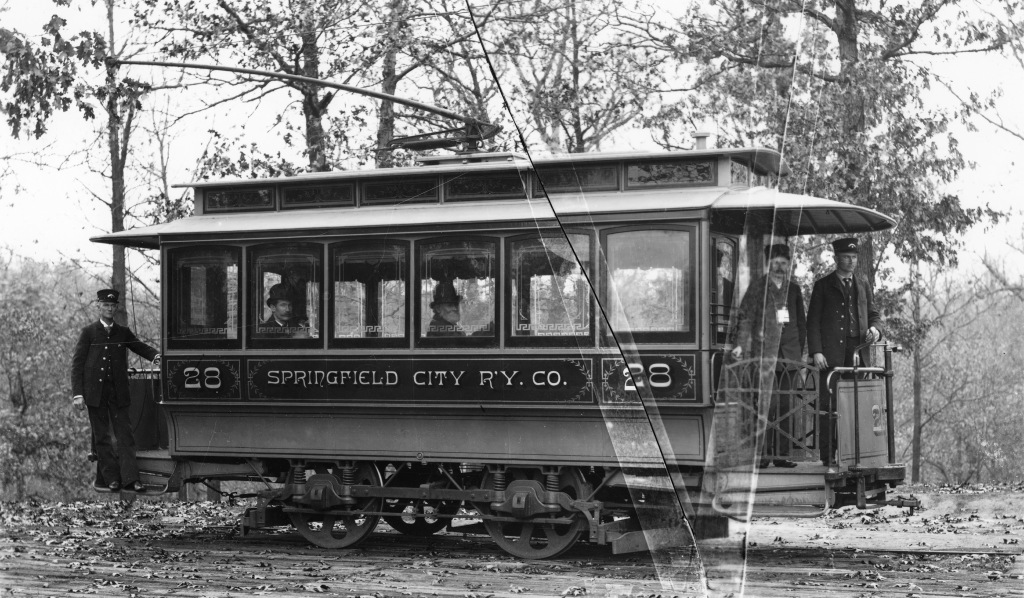 Springfield City Railway electric street car, circa 1900