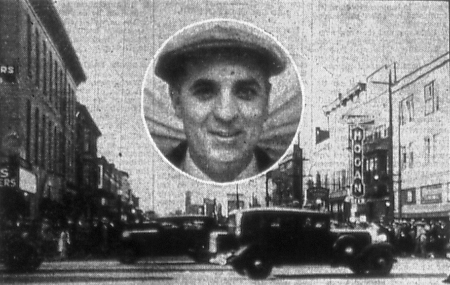 Shooting victim Edris Mabe (inset) and scene at Sixth and Washington streets following fatal confrontation on Easter Sunday 1935