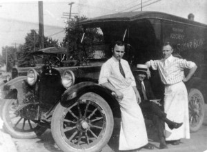 Jimmy James (left) and Teddy Gray, next to a delivery truck for the Sugar Bowl at 11th Street and South Grand Avenue, 1920. James later opened his own confectionery at Sixth Street and South Grand Avenue. (Sangamon Valley Collection)