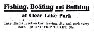 1911 newspaper advertisement for Clear Lake