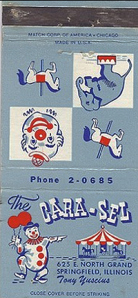 Cara-Sel matchbook cover