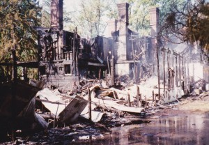 Remains of the mansion following the 1992 fire (Ann Robb Collection)