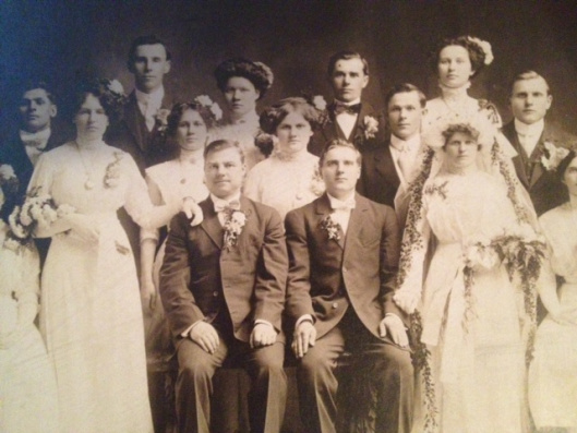 """John & Tillie (Theophilia Rinkavich) Treinis on the right; John's cousin """"Big John"""" Treinis of Chicago and his wife on the left (all photos courtesy Lithuanians in Springfield, Illinois)"""