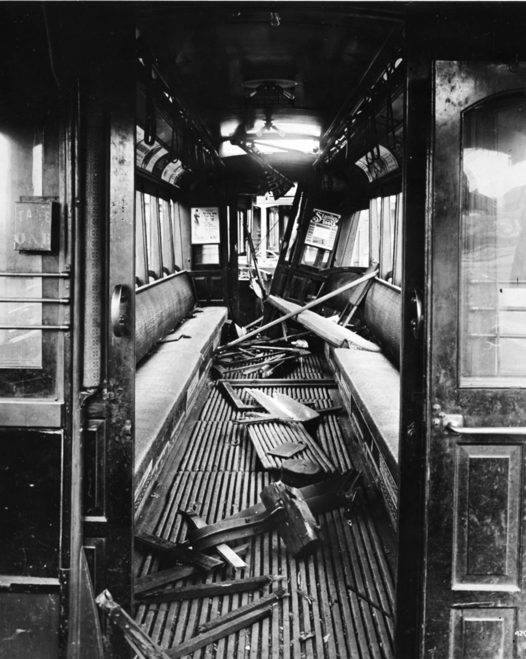 Stree tcar thought to have been damaged during 1917 street car workers' strike (Sangamon Valley Collection)