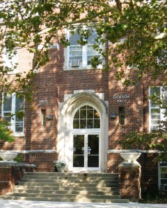 Entrance to Dawson Hall, Benedictine University at Springfield (SCHS photos)