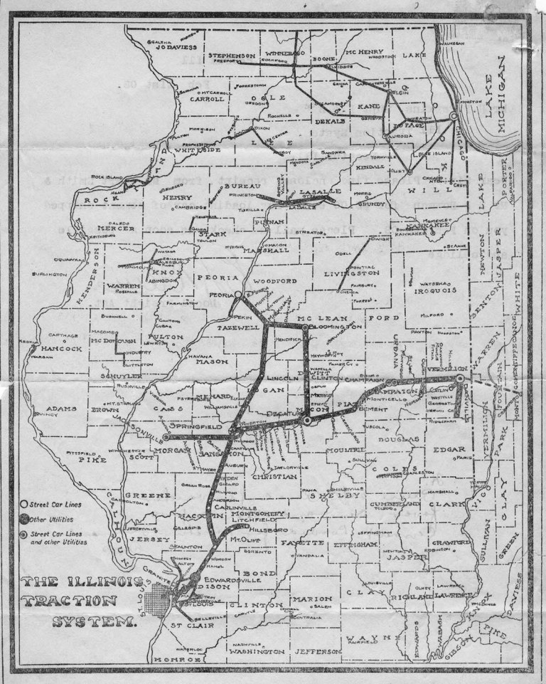 A 1908 Illinois Traction System route map