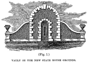 Drawing of the temporary vault built on the Mather Block.