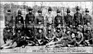 "A soldier identified only as ""Rauktis"" -- almost certainly Walter Rauktis -- is on the far right of the back row in this photo published Dec. 3, 1917, in the Illinois State Register. (Courtesy Sj-R)"