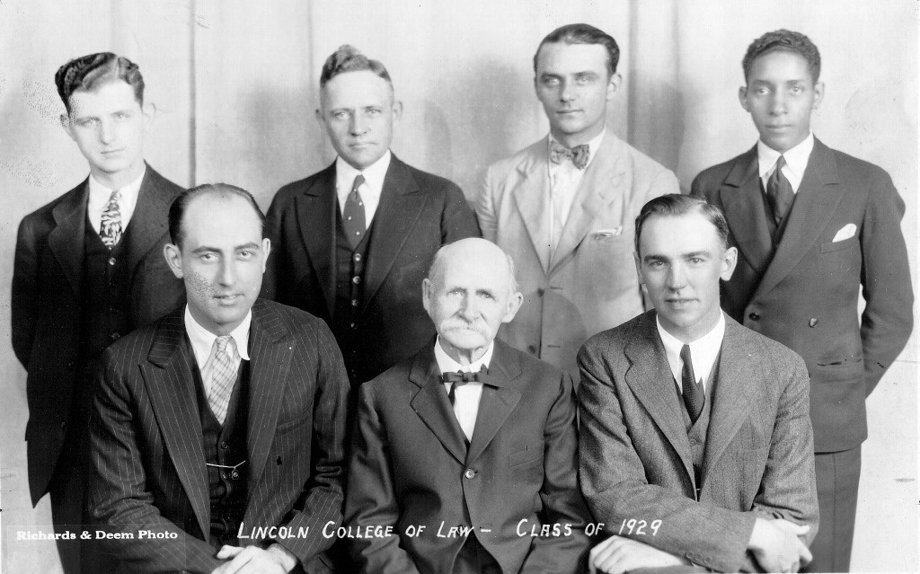 The Class of 1929. From left, back row: John Morrow, Beal Smith, Ernest Lloyd, Alphonso Gooden; front row, Michael Halpin, Dean and founder ? Edwards, Paul Cottingham (Sangamon Valley Collection)