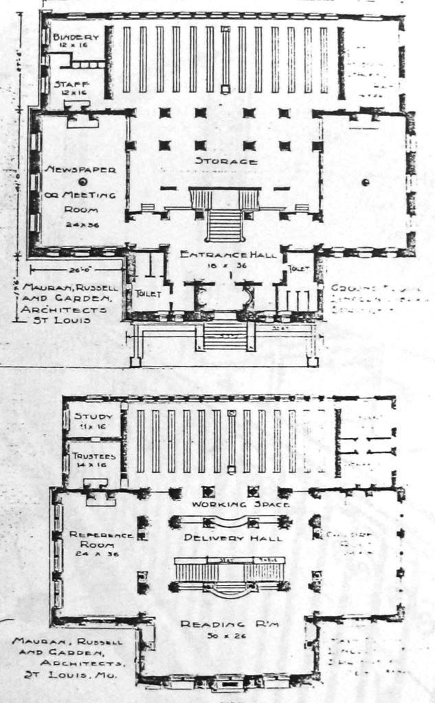 Lincoln library carnegie building 1904 74 sangamonlink floor plans illinois libraries katherine sharp 1906 malvernweather Gallery