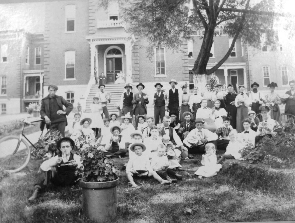 A picnic at the Sangamon County Poor Farm -- possibly an annual inspection by county officials -- in the late 1800s or early 1900s. (Sangamon Valley Collection)