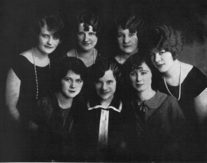The beautiful Bertha (Yates) Adams, right edge, back row, with friends from St. Vincent de Paul Church, circa 1930. (Lithuanians in Springfield, Illinois)