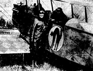 Nellie Browne Duff poses next to the plane in which she took her first flight. (Courtesy SJR)