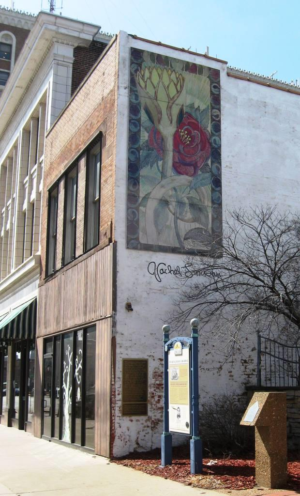 The Wedding of the Rose and the Lotus painting, downtown Springfield. The two historical markers in the next-door lot denote the site of Abraham Lincoln's first law office. (SCHS photo)