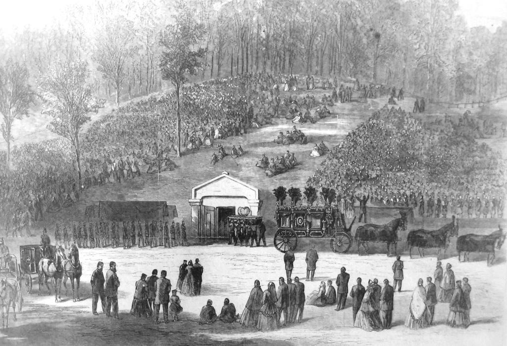 President Lincoln's casket being carried into the receiving vault at Oak Ridge Cemetery, drawing by William Waud for Harper's magazine (Sangamon Valley Collection)