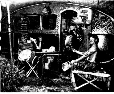 Bobby Watson, right, clowning behind his trailer home during on a visit home in July 1941. Friends are George Klugh, left, and Toussant Anderson, dressed as a Mexican servant. (SJR files)