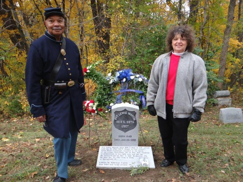 Re-enactor Robert Davis of Springfield, left, worked with Kathy Heyworth to memorialize Pvt. Lewis Martin (Courtesy Donna Catlin)