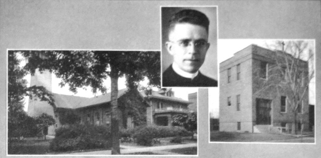Father Burtle with St. Barbara's Church and rectory, left, and school, right (Jubilee history)