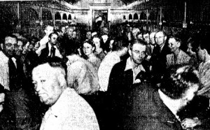 Sangamon Ordnance Plant employees on the Illinois Terminal's first special train to the plant, Sept. 2, 1942 (Illinois State Journal)