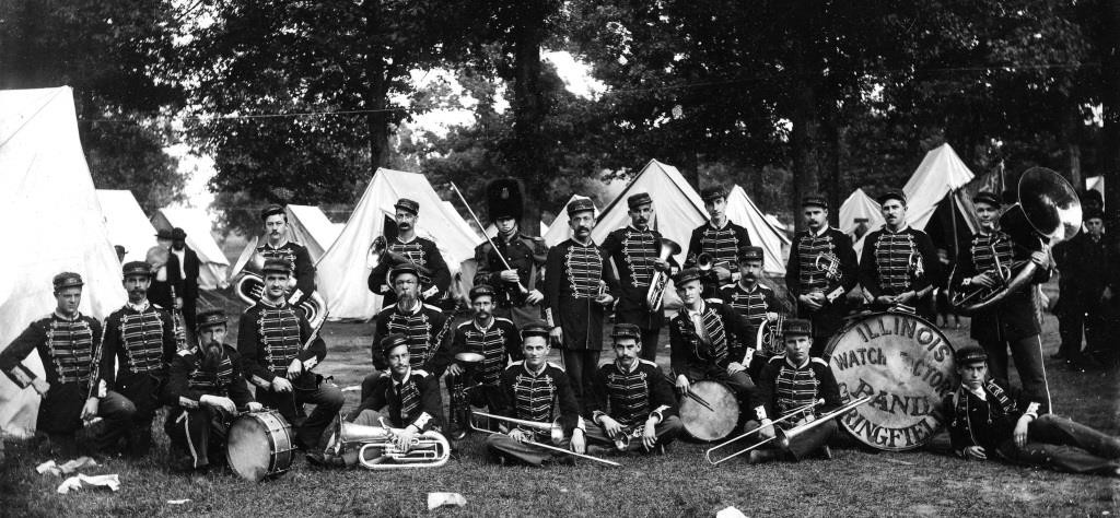Illinois Watch Co. Band, circa 1900. Louis Lehmann is standing center, just right of the drum major. (Sangamon Valley Collection)