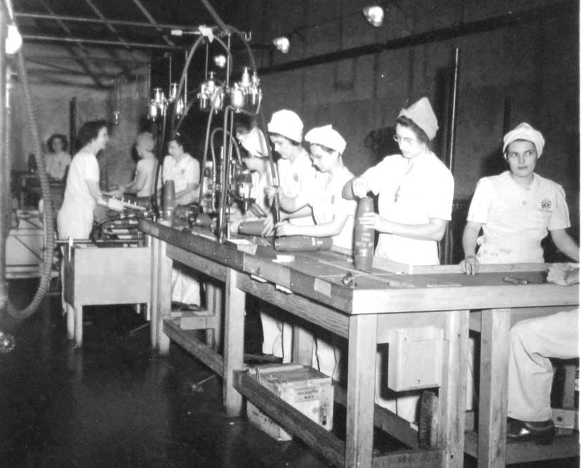 'WOWs' (Women Ordnance Workers) prepare boosters at the Sangamon Ordnance Plant (Sangamon Valley Collection)