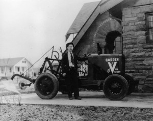 Lee Muller with a garden tractor he built from spare parts in order to cultivate his World War II Victory Garden. (Sangamon Valley Collection)