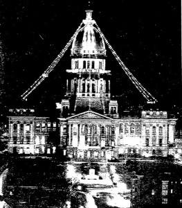 Statehouse holiday lights, 1962 (SJ-R)