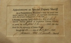Isaac Dodd of the New Berlin area attended the Hayes execution as a special deputy sheriff. The admission pass is signed by Sheriff James Kent. (Contributed by Gene Dodd)